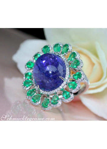 Opulent Tanzanite Ring with Diamonds and Emeralds
