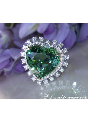 Glamorous Tourmaline Diamond Heart Ring