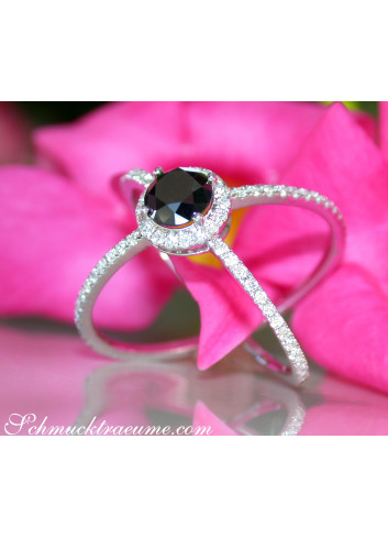 Crossover Black Diamond Solitaire Ring