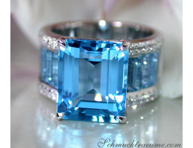 Extra Stately Blue Topaz Ring with Diamonds
