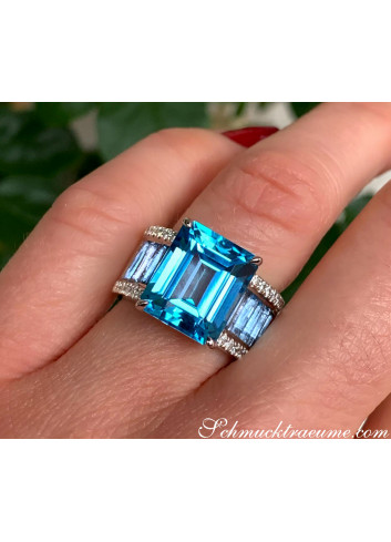 Extra Stately Blue Topaz Ring with Diamonds