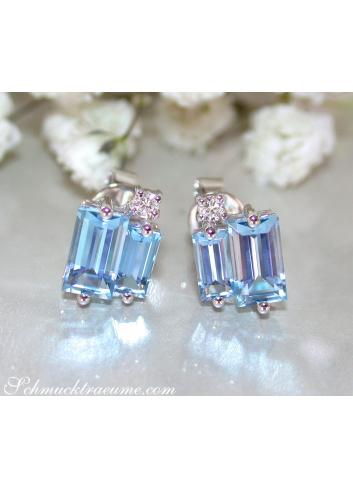 Delicate Baguette Cut Blue Topaz Stud Earrings with Diamonds