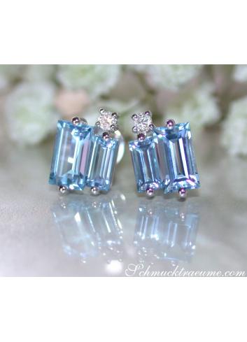Blautopas Ohrstecker mit Diamanten Weißgold 585