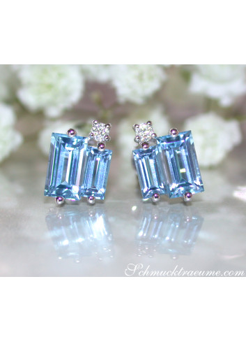 Delicate Baguette Cut Blue Topaz Stud Earrings with Diamonds
