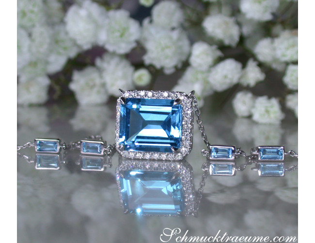 Magnificent Blue Topaz Necklace with Diamonds