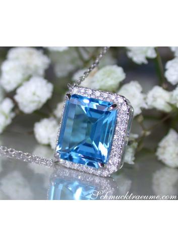 Blautopas Halskette mit Diamanten Weißgold 585