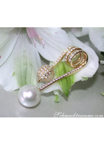 Unique Southsea Pearl Pendant with Diamond Pave Ball