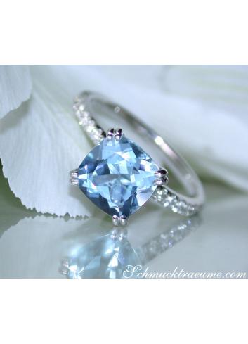 Aquamarin Ring mit Diamanten Weißgold 585