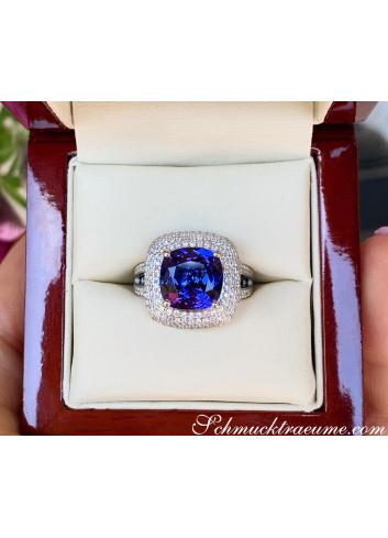 AAA Tansanit Ring mit Diamanten