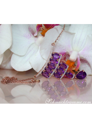 Enchanting Amethyst Necklace with Diamonds