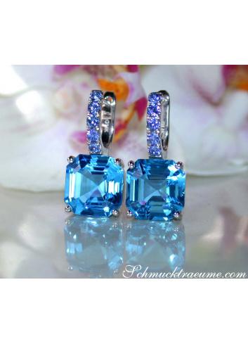 Blautopas Ohrringe mit Saphiren