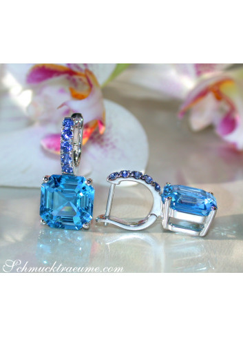 Select Blue Topaz Earrings with Sapphires