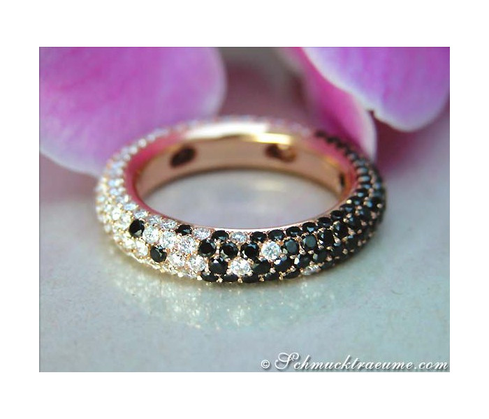 Exquisite Black & White Diamond Eternity Ring
