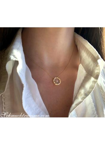 Brillanten Halskette mit Saphirglas Gelbgold 750