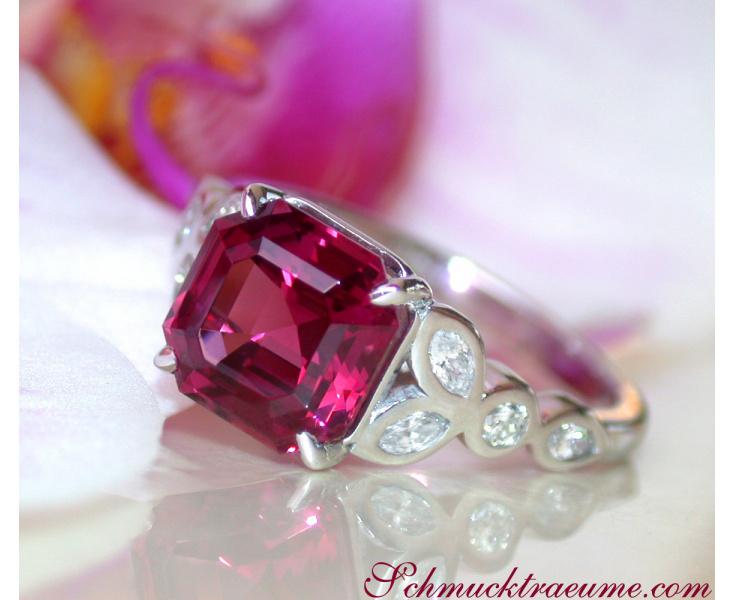 Exquisite Rhodolite Ring with Diamonds