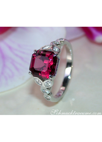 Exquisite Rhodolite Ring with Diamonds