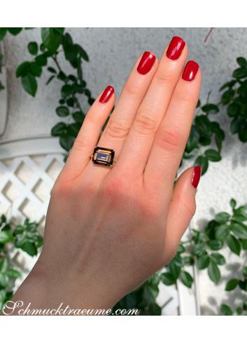 Ungewöhnlicher Rauchquarz Ring mit braunen Diamanten