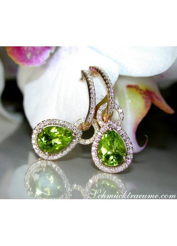 Peridot Ohrstecker mit Diamanten