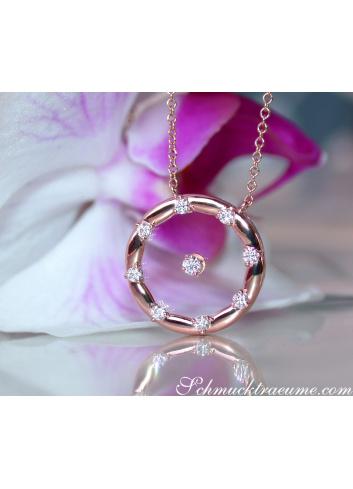 Brillanten Halskette mit Saphirglas