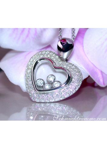 Tremendous Diamond Heart Pendant Behind Glass