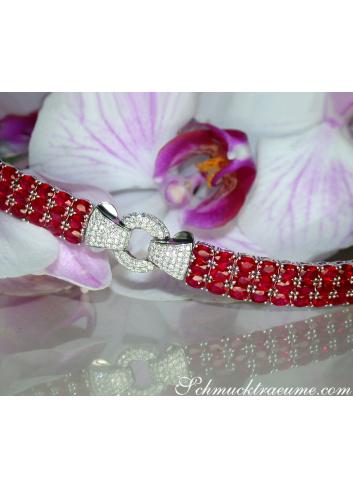 Rubin Armband mit Brillanten in Weißgold 750