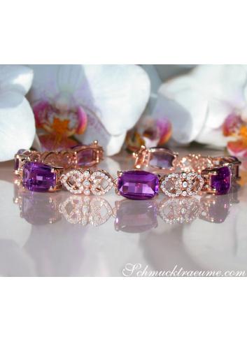 Prächtiges Amethyst Armband mit Diamanten im Art Déco Stil