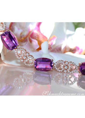 Amethyst Armband mit Diamanten Roségold 750