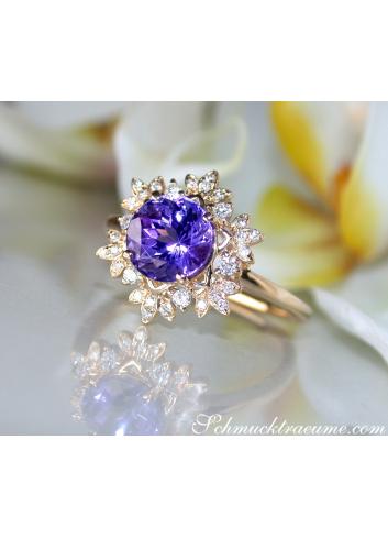Zarter Tansanit Ring mit Diamanten im Schneeflocken Design