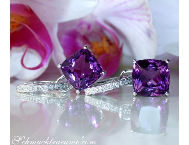 Wende Ohrringe mit Amethyst und Diamanten