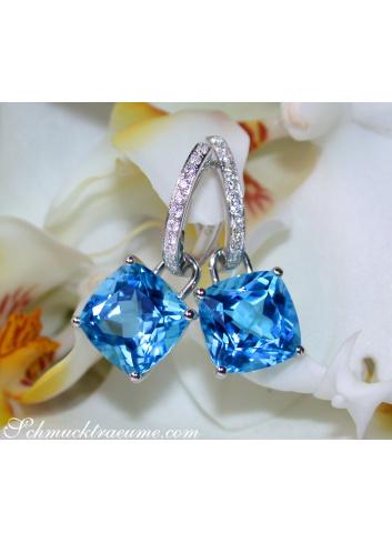 Wende Ohrringe mit Blautopas und Diamanten