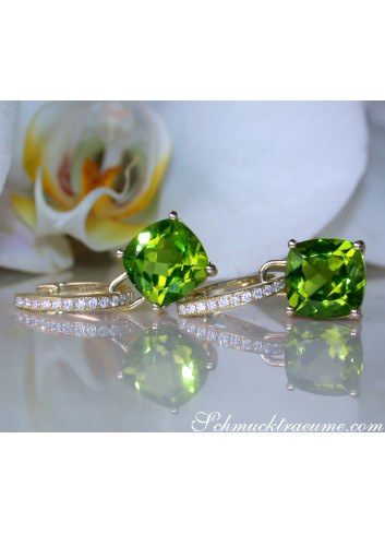 Wende Ohrringe mit Peridot und Diamanten