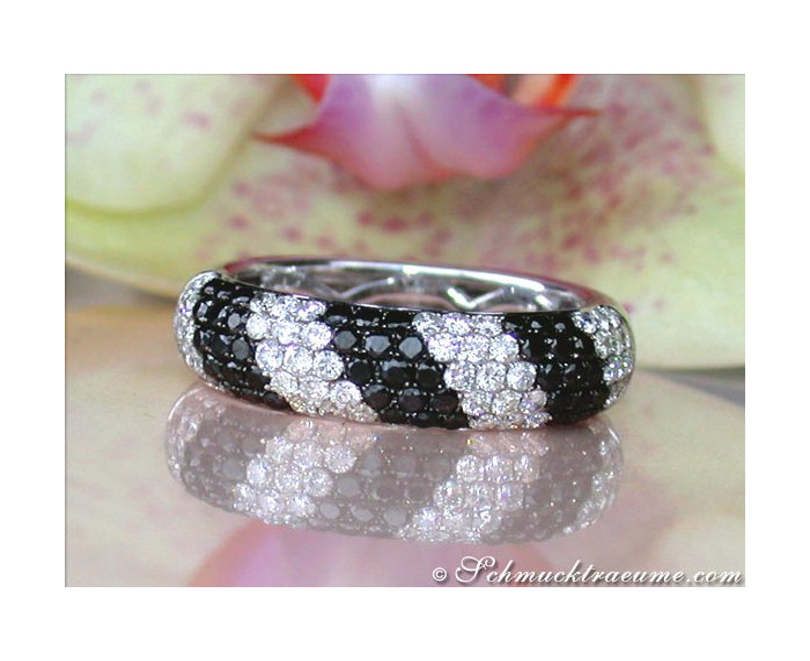 Casual Smart Black & White Diamond Ring
