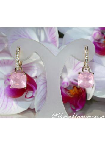 Wende Ohrringe mit Rosenquarz und Diamanten