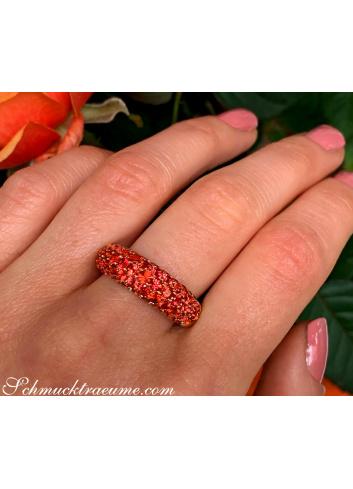 Noble Orange Sapphire Pavéring
