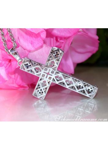 Cross in Cross Pendant with Black & White Diamonds