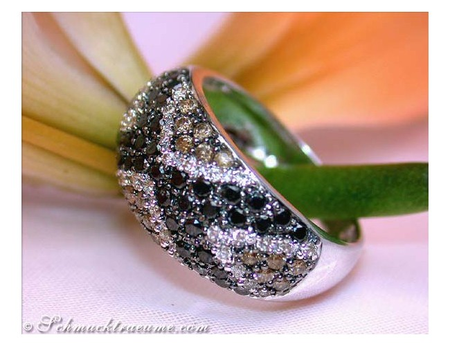 Pretty Ring with Black, Brown & White Diamonds