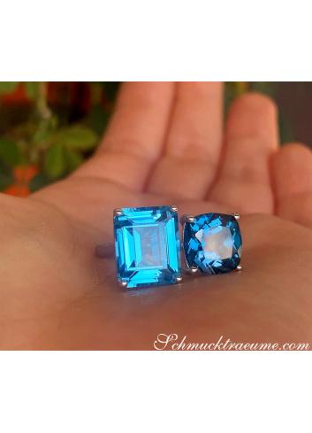 """""""Toi et Moi"""" Ring mit Blautopas"""