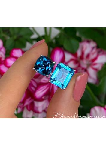 """Wunderschöner """"Toi et Moi"""" Ring mit Blautopas"""