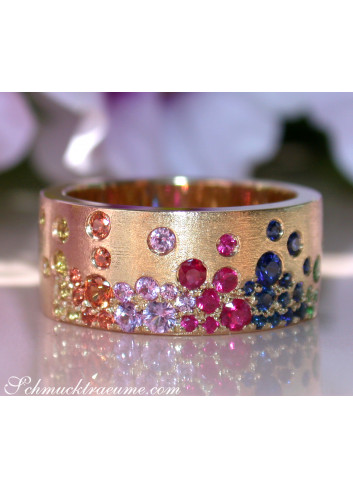 Multicolor Regenbogen Saphir Sternenhimmel Ring