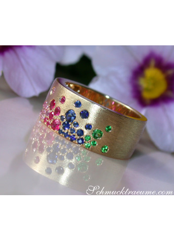 Magnificent Rainbow Sapphire Band (Starry Sky Style)