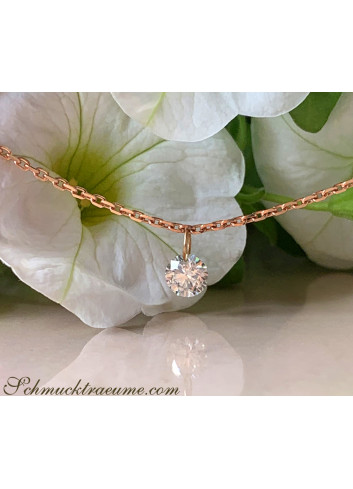 Solitär Halskette schwebender Brillant Diamant