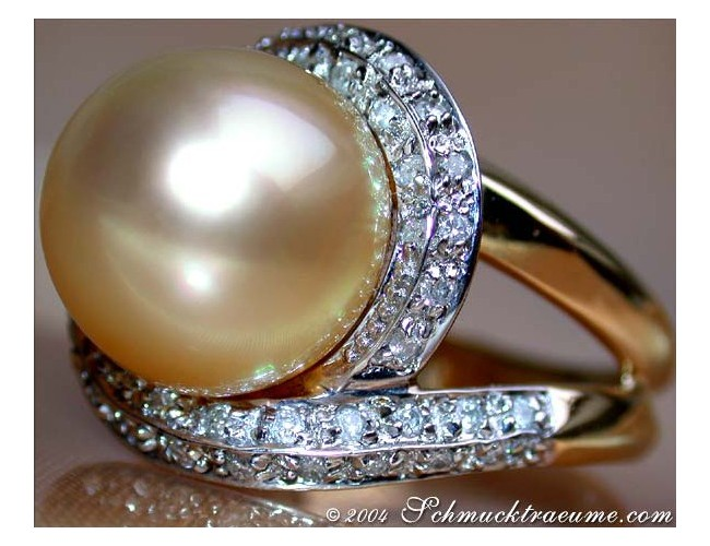Unique Golden Southsea Pearl Diamond Ring