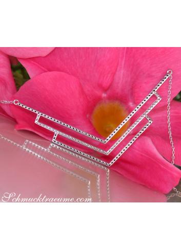 Halskette mit schwarzen und weißen Diamanten