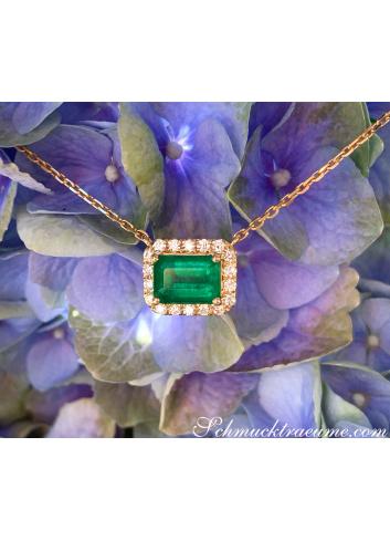 Wundervolle Smaragd Halskette mit Brillanten