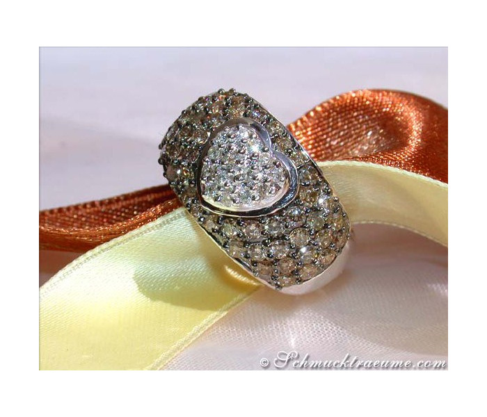Natural Brown & White Diamond Heart Ring