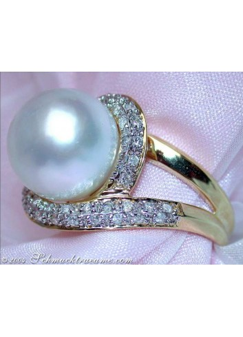 Südseeperle Ring mit Brillanten in Gelbgold