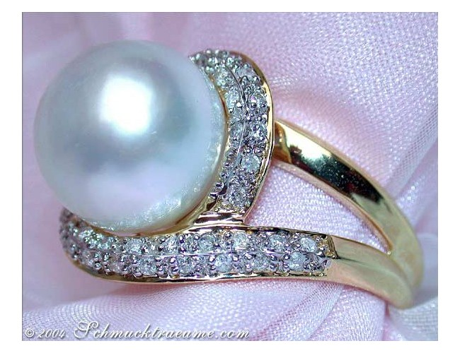 Fabulous Southsea Pearl Diamond Ring