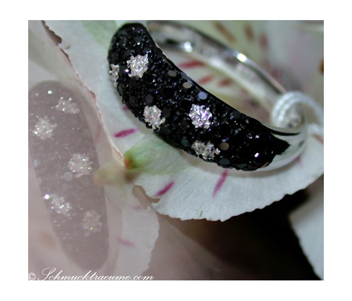 Elegant Black & White Diamond Polkadot Ring