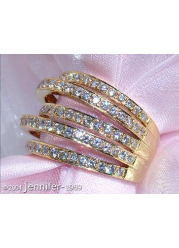 Huge Multi Row Diamond Ring in Yellow gold 18k