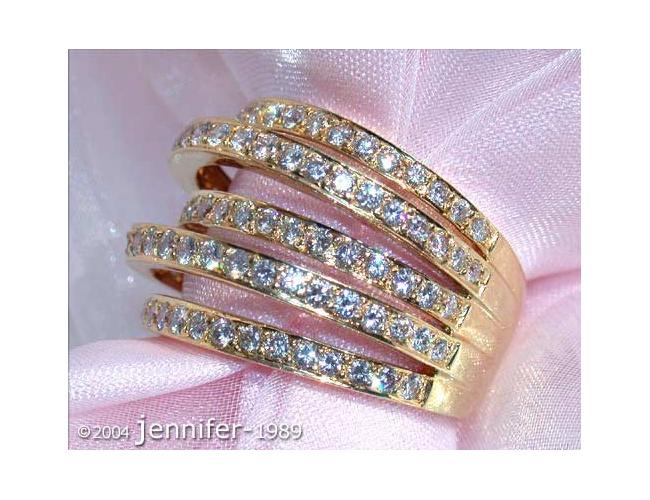 Huge Multi Row Diamond Ring in Yellow gold 18k